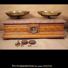 Antique Victorian Troemner Oak & Marble Top Apothocary Druggist Scale and Weight