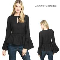 Black Gothic Victorian Lagenlook Steampunk Ruffle Bell Sleeve Blouse Top S M L