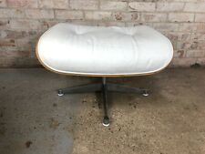 White Real Leather Retro Footstool Pouffe with Wooden Base Metal Feet
