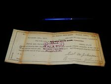 Vintage Check, SECURITY STATE BANK, NEW ENGLAND, ND, Promissory Note, 1911