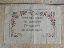 vintage Swedish hand-embroidered tapestry roses