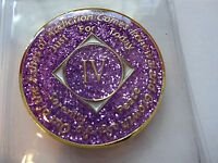 NA Purple Gold Coin 12 Year Tri-Plate Narcotics Anonymous Medallion+Capsul/&Stand