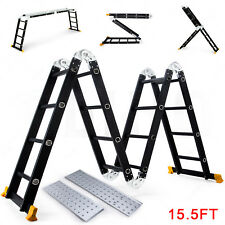 Black 15.5FT Aluminum Multi Purpose Ladder Extension Folding Telescoping