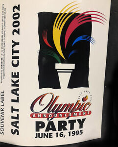 Salt Lake City Winter Olympic Game 63 Bid Announcement Party XL Stickers 6/15/95