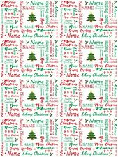 Personalised 'Merry Christmas' Gift Wrapping Paper Green And Red ADD NAME