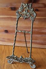 Photo Picture frame easel cast brass stand display for art work Vintage antique