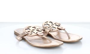 S64 Women's SZ 9 Tory Burch Miller Flat Leather Logo Slide Sandals Pink