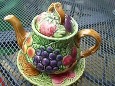 More details for sarreguemines majolica teapot and stand