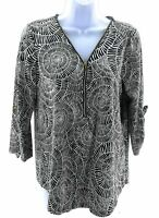 Robert Louis Top Womens Size Small Navy Blue and White 3/4 Sleeve