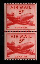 Us Scott #C37, 1948 Dc-4 Skymaster, Mnh Joint Line Pair, Cv: $10 Free S&H