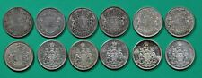 Canada,50 cents,12 silver coins,1920,1939-1941,1944,1950,1957-59-60-62-63-65