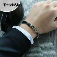 Men Silver Cut Cable Link Bracelet Stainless Steel Chain Braided Leather Jewelry