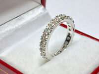 2.11 Ct Diamond Engagement Eternity Band 14K Solid White Gold Ring Size 4 5 6 7