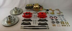 1957-1964 Galaxie power Ford disc brake conversion dual piston calipers red