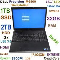 """Workstation DELL M6500 i7-EXTREME (1TB SSD + 2TB HDD) 17.0""""  32GB Quadro"""