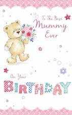 To The Best Mummy Cute Bear With Flowers & Word Design Happy Birthday Card