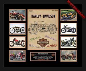 HARLEY DAVIDSON FOUNDING FATHERS LIMITED EDITION SIGNED & FRAMED MEMORABILIA