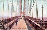 Brooklyn Bridge Pedestrians 1905 Undivided New York City Postcard