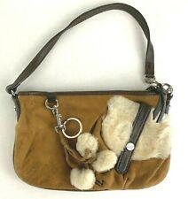 Ugg Uggs brown Suede Shearling Pom Keychain Leather Bag Purse Wristlet Key