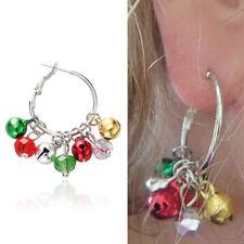 Christmas Women Jingle Bells Hoop Mixed Color Earrings for Girls Hypoallergenic