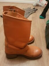 orange leather calf length boots size 4