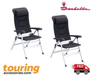 2 x Isabella Thor Folding Caravan Camping Chair - Dark Grey - Home Garden  -