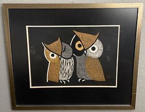 "Kaoru Kawano Pencil Signed Woodblock Print Owls ""Three Eyes"" 21x18"" Framed"