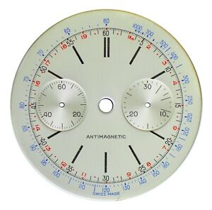 NOS Orig. Landeron L48 Chronograph / Chrono 34.5 mm Wristwatch Dial, Swiss 1940s