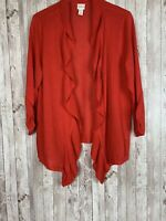 Women's Chico's Red Ruffled Open-Front Rayon-Blend Cardigan Sweater Size Large