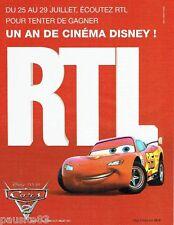 PUBLICITE ADVERTISING 116  2011   Film  Cars Disney Pixar &  radio RTL
