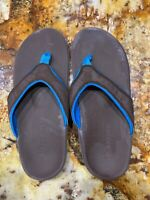 Spenco Women's Brown & Blue Size 8 Arch Support Orthotics Sandals Flip Flops.