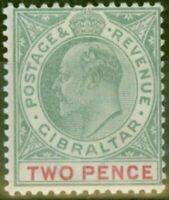 Gibraltar 1903 2d Grey-Green & Carmine SG48 Fine Lightly Mtd Mint