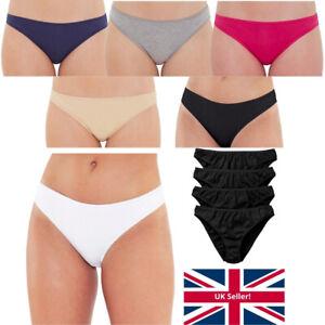 Just Essentials Women's Ladies Hi-Leg Briefs Multipack of 4 Cotton Plain Colours