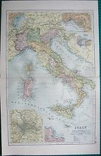 1901 LARGE VICTORIAN  MAP- ITALY,INSETS ROME,PALERMO,MESSINA,NAPLES,VENICE