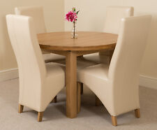 Edmonton Extending Oval Solid Oak Dining Table and 4 Ivory Leather Chairs