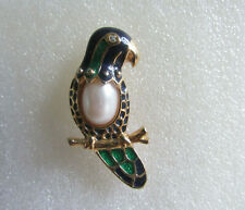 and Green Enamel with Pearl Brooch Vintage Stunning Parrot Blue