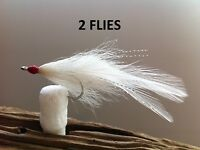 DECEIVER  FLY  WHITE 2 FLIES  Mustad 34007 #2 stainless redfish,snook,striper