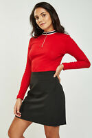 Ladies Cotton Zip High Neck Ribbed Red Crop Long Sleeve Autumn Tops