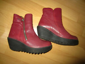 FLY LONDON Burgundy Leather Ankle Boots 39/6