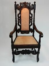 antique intricately carved oak throne chair 51 inches