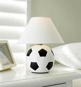 Kids Ceramic Football Study Bedroom Bed Side Table Desk Lamp & Shade