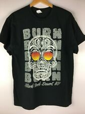 T-Shirt Burning Man Skull Fire Eyes Black Rock Desert Nevada Black Cotton Large