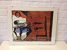Hal Poth Signed Abstract Color Woodcut Print of Human Like Chair & Table