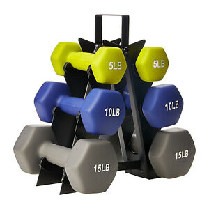 HolaHatha 5, 10, and 15 Pound Neoprene Dumbbell Free Hand Weight Set with Rack