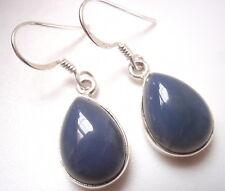 Blue Chalcedony Pear-Shaped 925 Sterling Silver Dangle Earrings Corona Sun