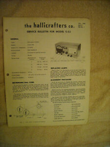 Original service bulletin for Hallicrafters S 52 receiver