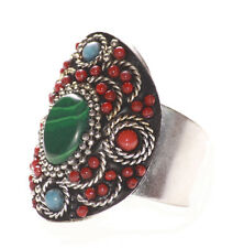 Allison- Emerald Stone / Red & Chrome Embroidered Stretchable Hand Ring(Ns9)