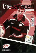 SARACENS v ROTHERHAM POWERGEN CUP 16 Dec 2001  RUGBY PROGRAMME