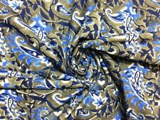 5 Yards Indian Cotton Voile Hand Block Print Fabric Natural Dyes Sanganeri 031