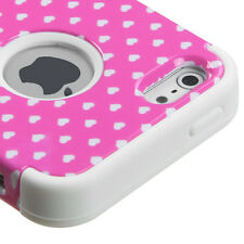 iPhone SE 5S Pink Polka Hearts Hybrid Armor Impact Hard & Soft Rubber Skin Case